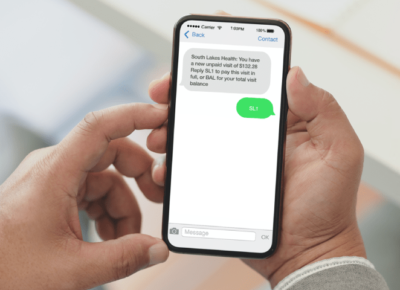 patient paying for hospital visit via text message