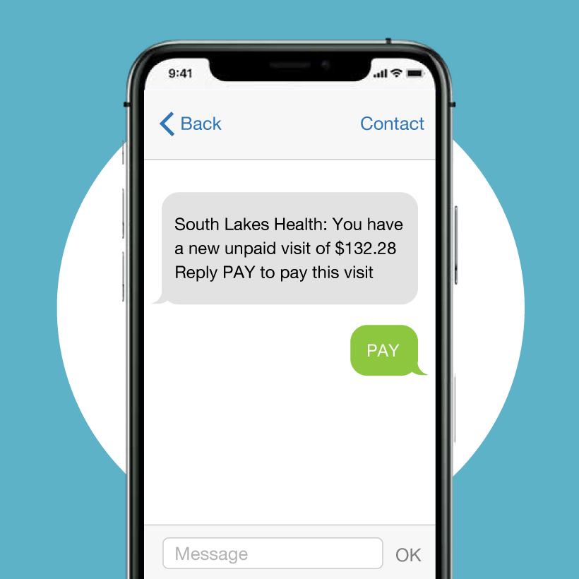 Text message from payment system